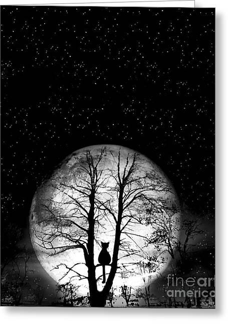 Black Cat On Tree Greeting Card by Nina Ficur Feenan