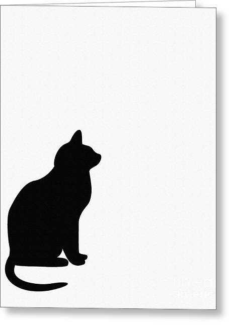 Black Cat Silhouette On A White Background Greeting Card