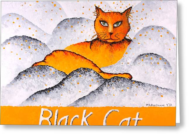 Black Cat Yellow Greeting Card by Michelle Boudreaux