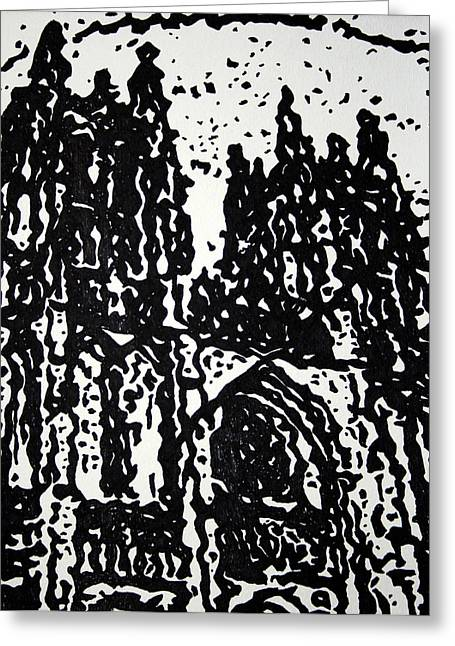 Black Cathedral  Greeting Card by Oscar Penalber