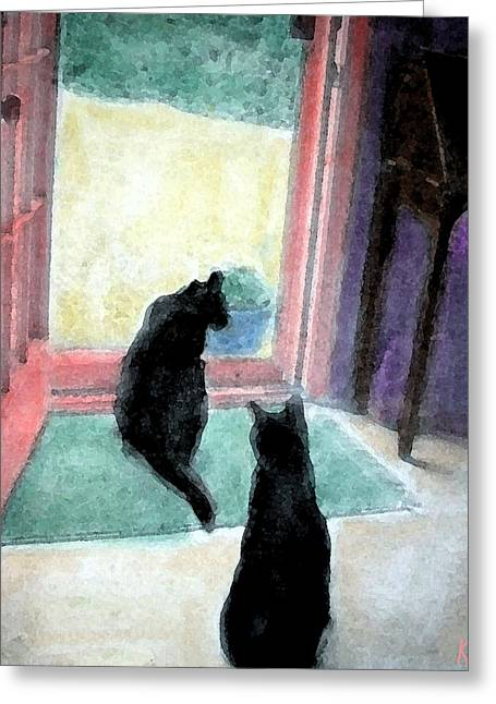 Black Cats Greeting Card by Art by Kar