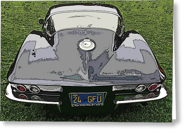 Black Chevy Corvette Stingray Greeting Card