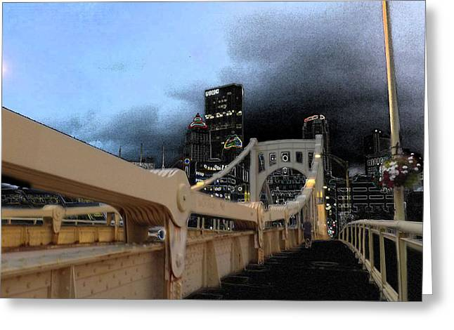 Black Cloud Over The City Greeting Card by Joyce  Wasser
