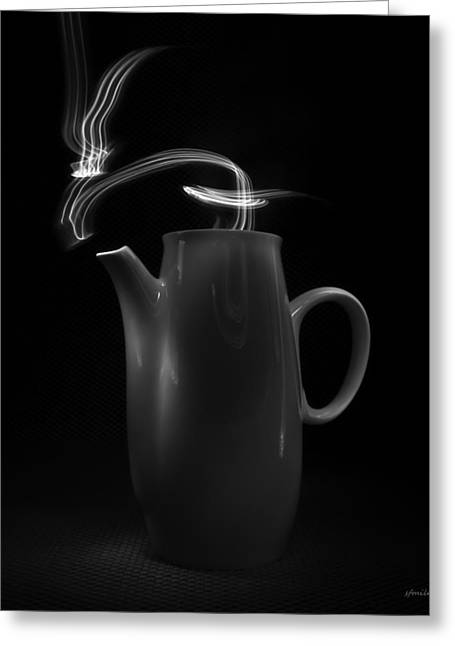 Greeting Card featuring the photograph Black Coffee Pot - Light Painting by Steven Milner