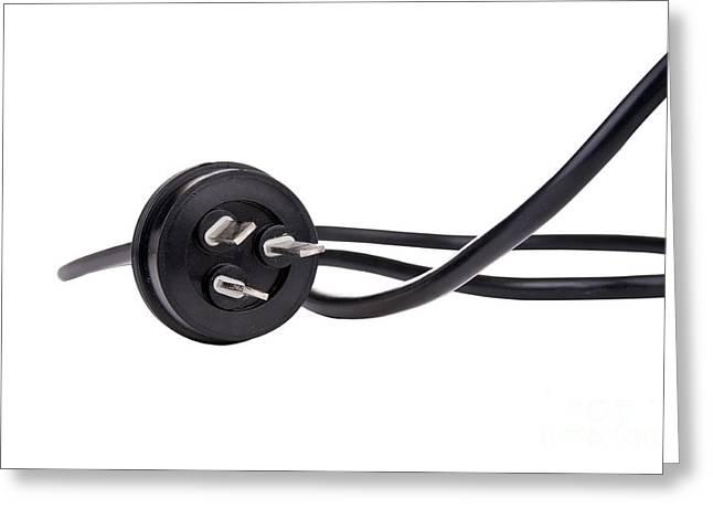 Black Cord Plug Greeting Card by Tim Hester