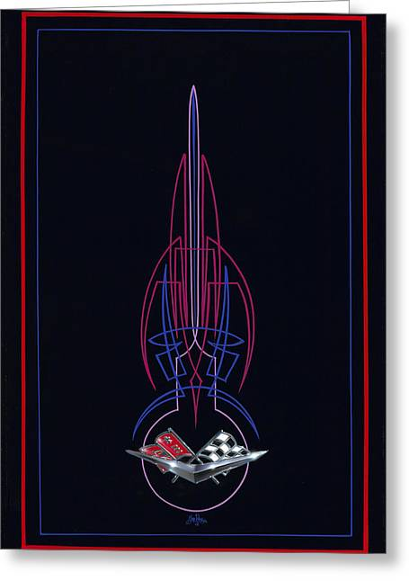 Black Corvette Greeting Card by Alan Johnson
