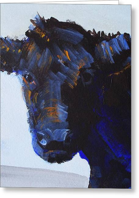 Black Cow Head Greeting Card