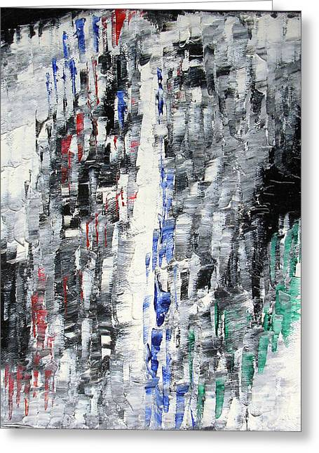 Black Crystal Cave - Black White Abstract By Chakramoon Greeting Card by Belinda Capol