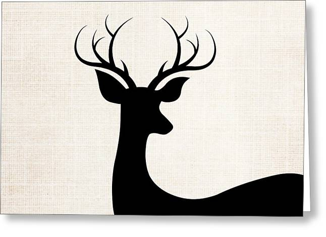 Black Deer Silhouette Greeting Card by Chastity Hoff