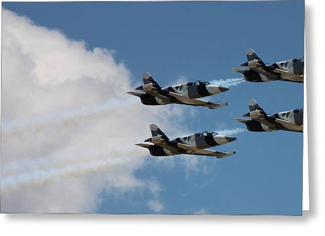 Black Diamond L-39s In Flight Greeting Card
