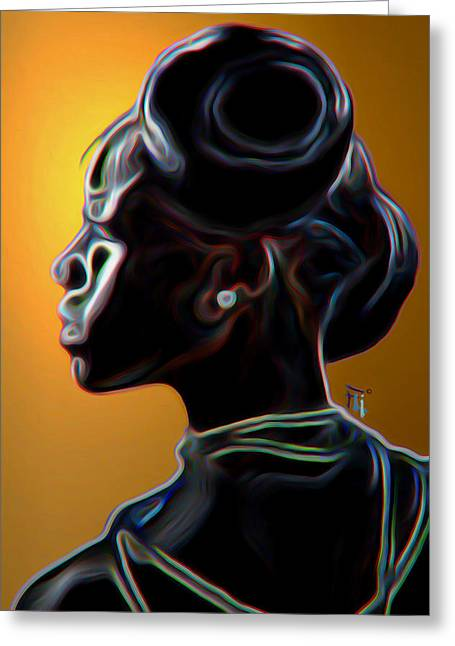 Black Diamonds And Pearls Greeting Card by  Fli Art