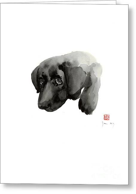 Black Dog Labrador Gold Golden Retriever Eye Portrait Animal Animals Pet Pets Watercolor Painting Greeting Card by Johana Szmerdt