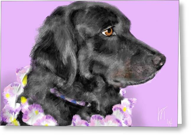 Black Dog Pretty In Lavender Greeting Card by Lois Ivancin Tavaf
