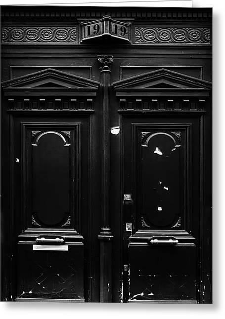 Black Door In Paris Greeting Card by Georgia Fowler