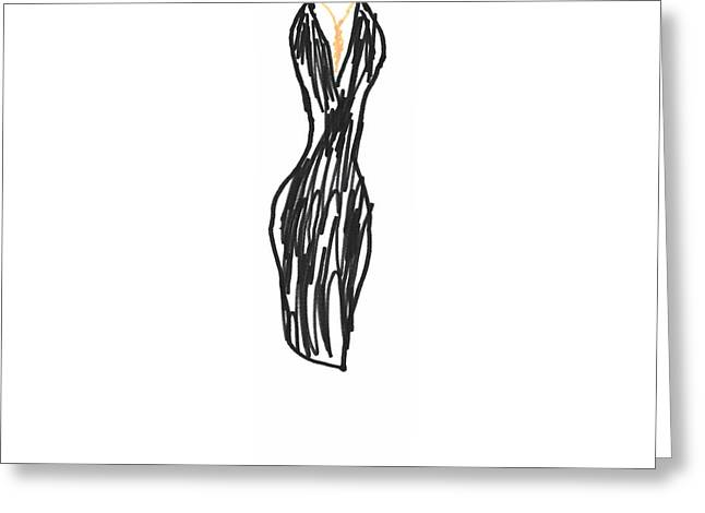 Black Dress With Gold Necklace Greeting Card by Mark Wilcox
