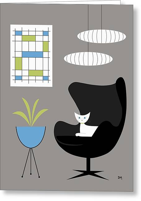 Black Egg Chair Greeting Card