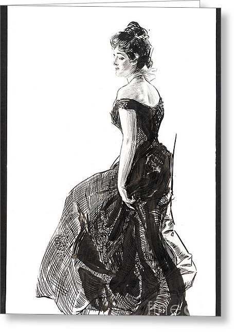 Black Evening Dress 1901 Greeting Card by Padre Art