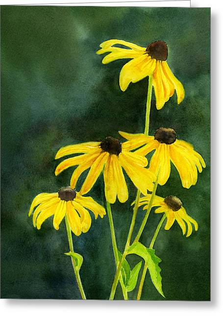 Black Eyed Susans Dark Background 2 Greeting Card