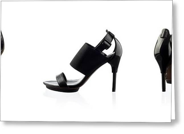 Black Female Shoes Over White Greeting Card by Nikita Buida