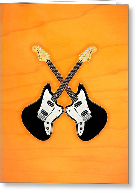 Black Fender Jaguar  Guitar Greeting Card by Doron Mafdoos