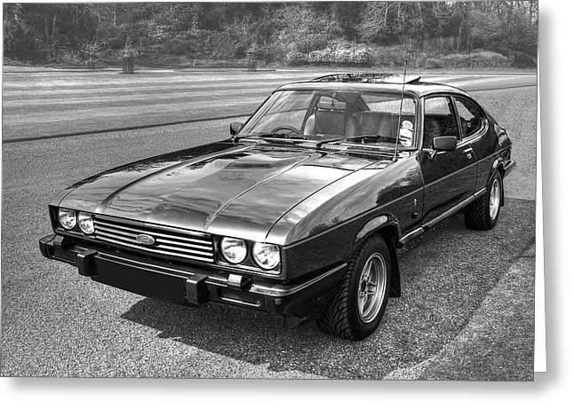 Black Ford Capri 1978 - 1986 Greeting Card by Gill Billington