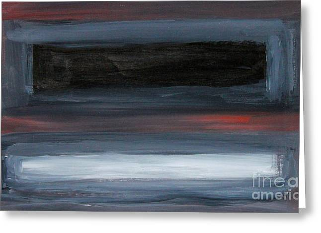 Black Gray Red After Rothko Greeting Card by Anne Cameron Cutri