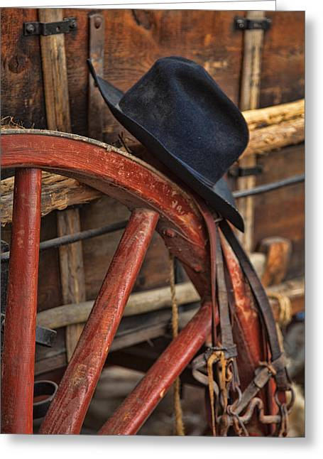Black Hat On A Red Wagon Wheel Greeting Card by Toni Hopper