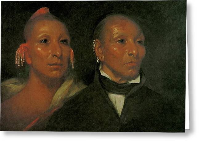 Black Hawk And His Son Whirling Thunder Greeting Card by John Wesley Jarvis