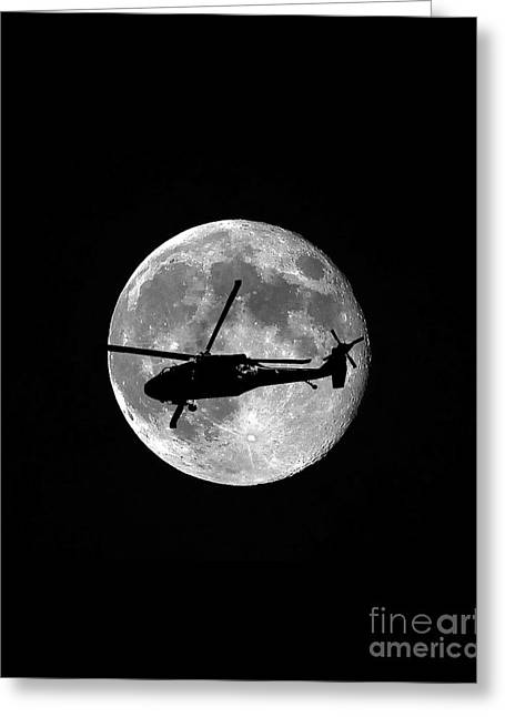 Black Hawk Moon Vertical Greeting Card by Al Powell Photography USA