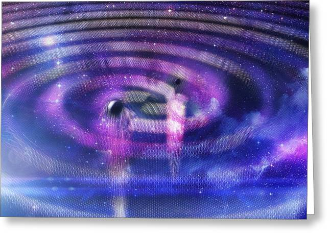 Black Hole Merger And Gravitational Waves Greeting Card by Ramon Andrade 3dciencia