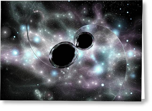 Black Hole Merger And Gravitational Waves Greeting Card by Russell Kightley