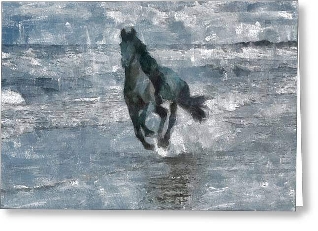 Greeting Card featuring the painting Black Horse Running On The Beach by Georgi Dimitrov