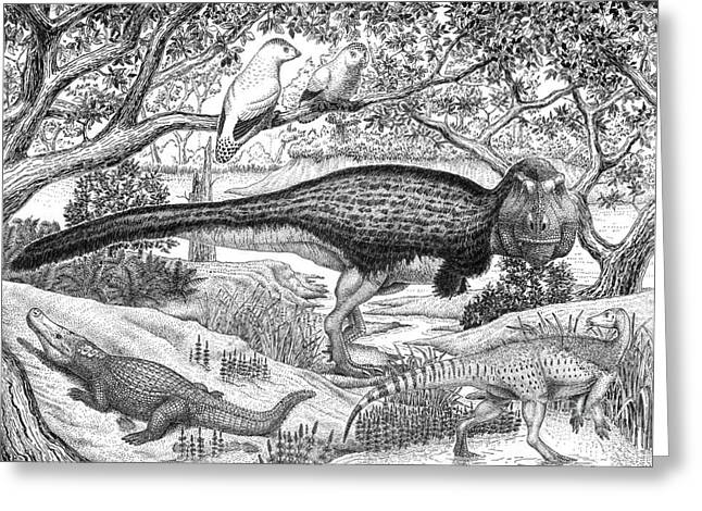 Black Ink Drawing Of Extinct Animals Greeting Card by Vladimir Nikolov