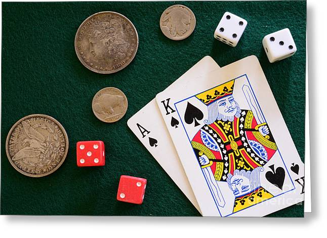Black Jack And Silver Dollars Greeting Card by Paul Ward
