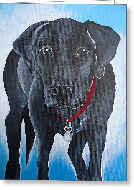 Black Lab Greeting Card by Leslie Manley