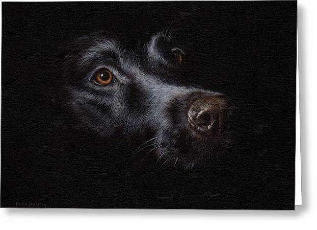 Black Labrador Painting Greeting Card by Rachel Stribbling
