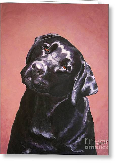Black Labrador Portrait Painting Greeting Card