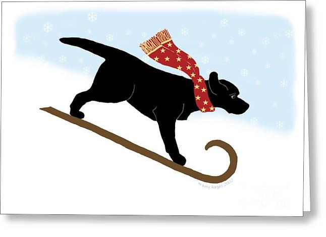 Black Labrador Sledding Dog Greeting Card by Amy Reges