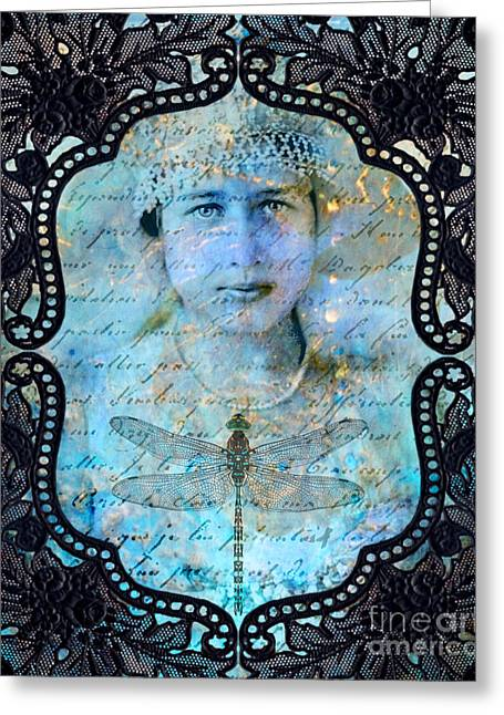 Black Lace Greeting Card by Judy Wood