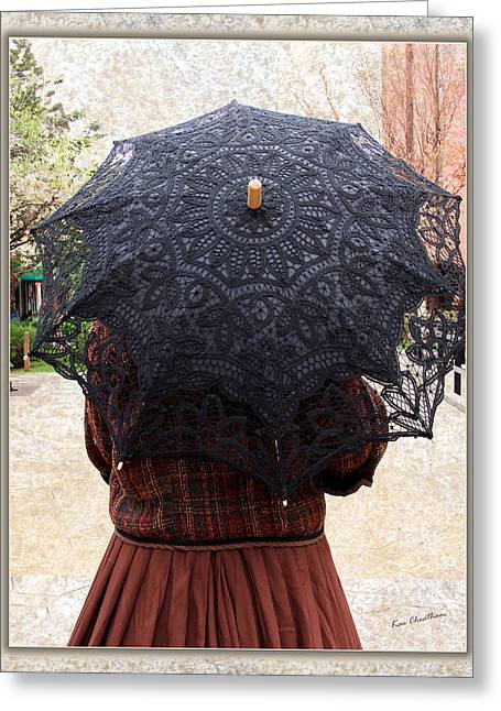 Black Lace Parasol Greeting Card by Kae Cheatham