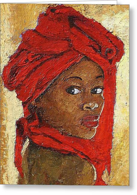 Black Lady No. 12 Greeting Card by Janet Ashworth