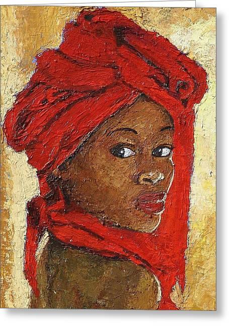 Black Lady No. 12 Greeting Card by Janet Ashworth