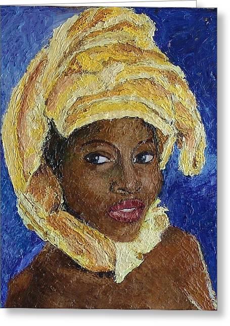 Black Lady No. 6 Greeting Card by Janet Ashworth