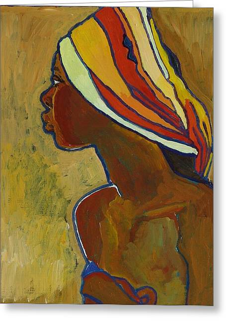 Black Lady With Colorful Head-dress Greeting Card by Janet Ashworth