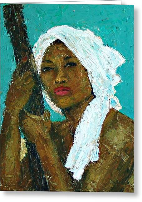 Black Lady With White Head-dress Greeting Card by Janet Ashworth