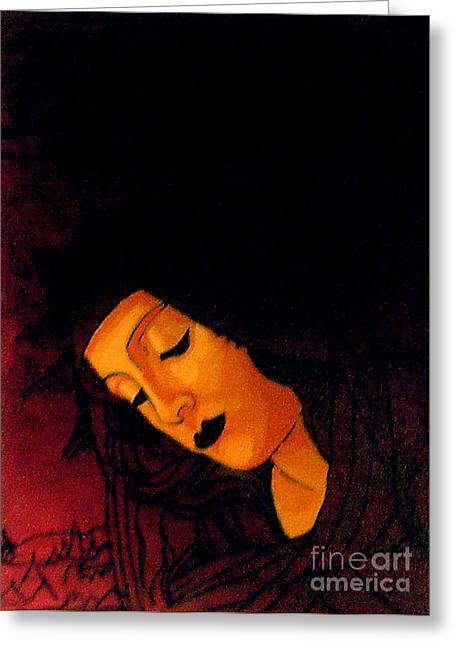 Black Madonna Greeting Card by Genevieve Esson