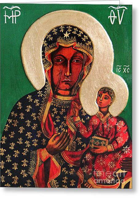 Black Madonna Of Czestochowa Icon IIi Greeting Card by Ryszard Sleczka
