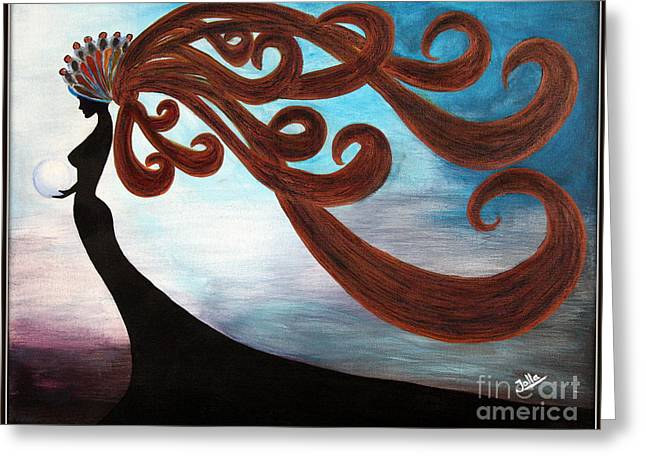 Greeting Card featuring the painting Black Magic Woman by Jolanta Anna Karolska