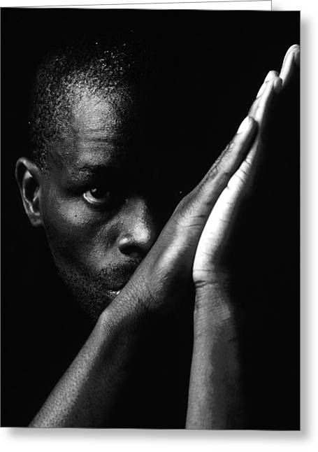 Black Man With Praying Hands Greeting Card