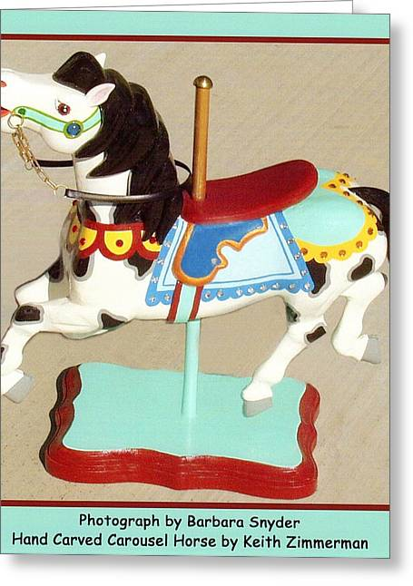 Black Mane Carousel Horse Greeting Card by Barbara Snyder and Keith Zimmerman
